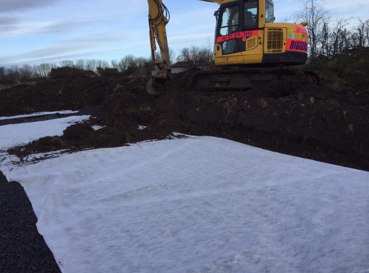 Back-filling percolatio soakage area for treated effluent.